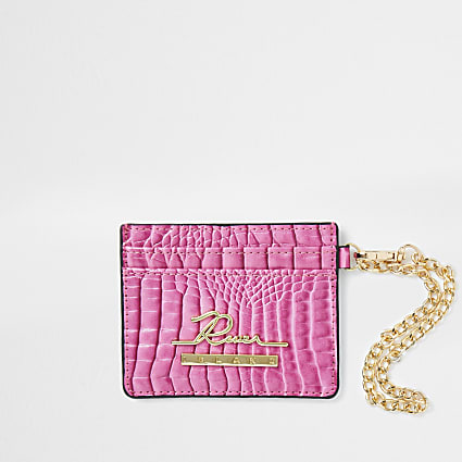 Pink croc embossed card holder wallet