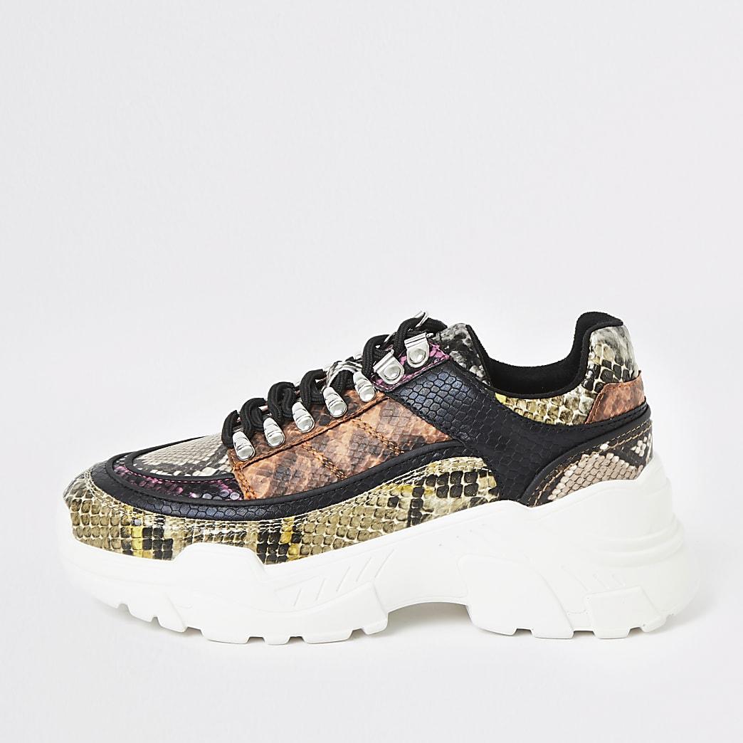 Roze wandelsneakers met reliëf en krokodillenprint