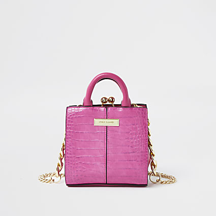 Pink croc mini lady handbag