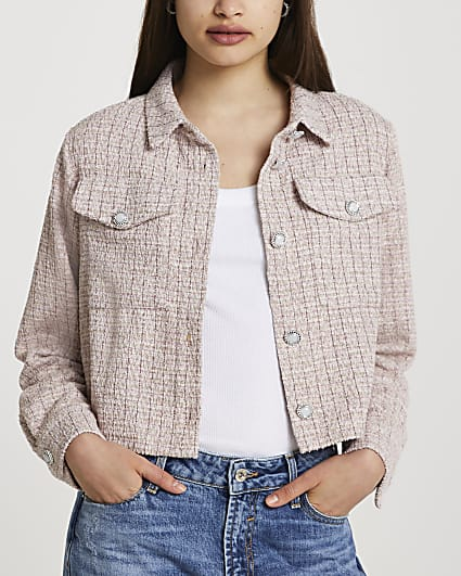 Pink cropped shacket