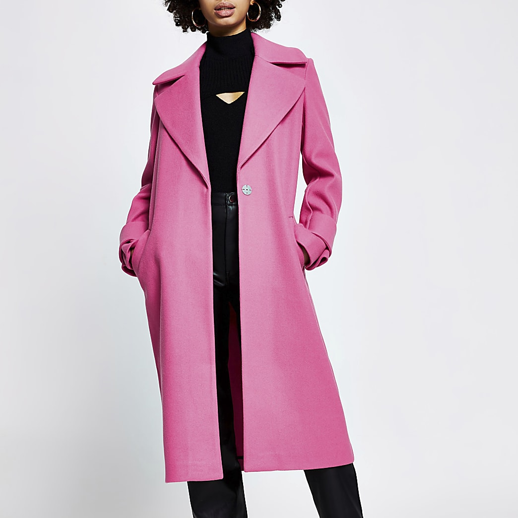 Pink cuff detail long sleeve coat