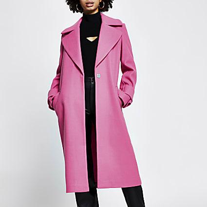 Pink cuff detail longline coat