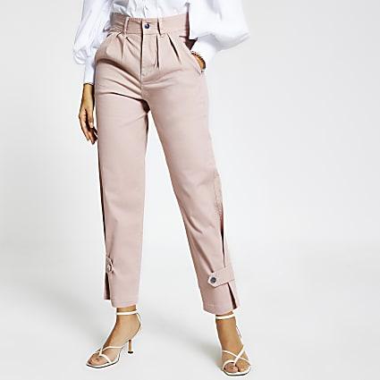 Pink cuffed hem cargo trousers