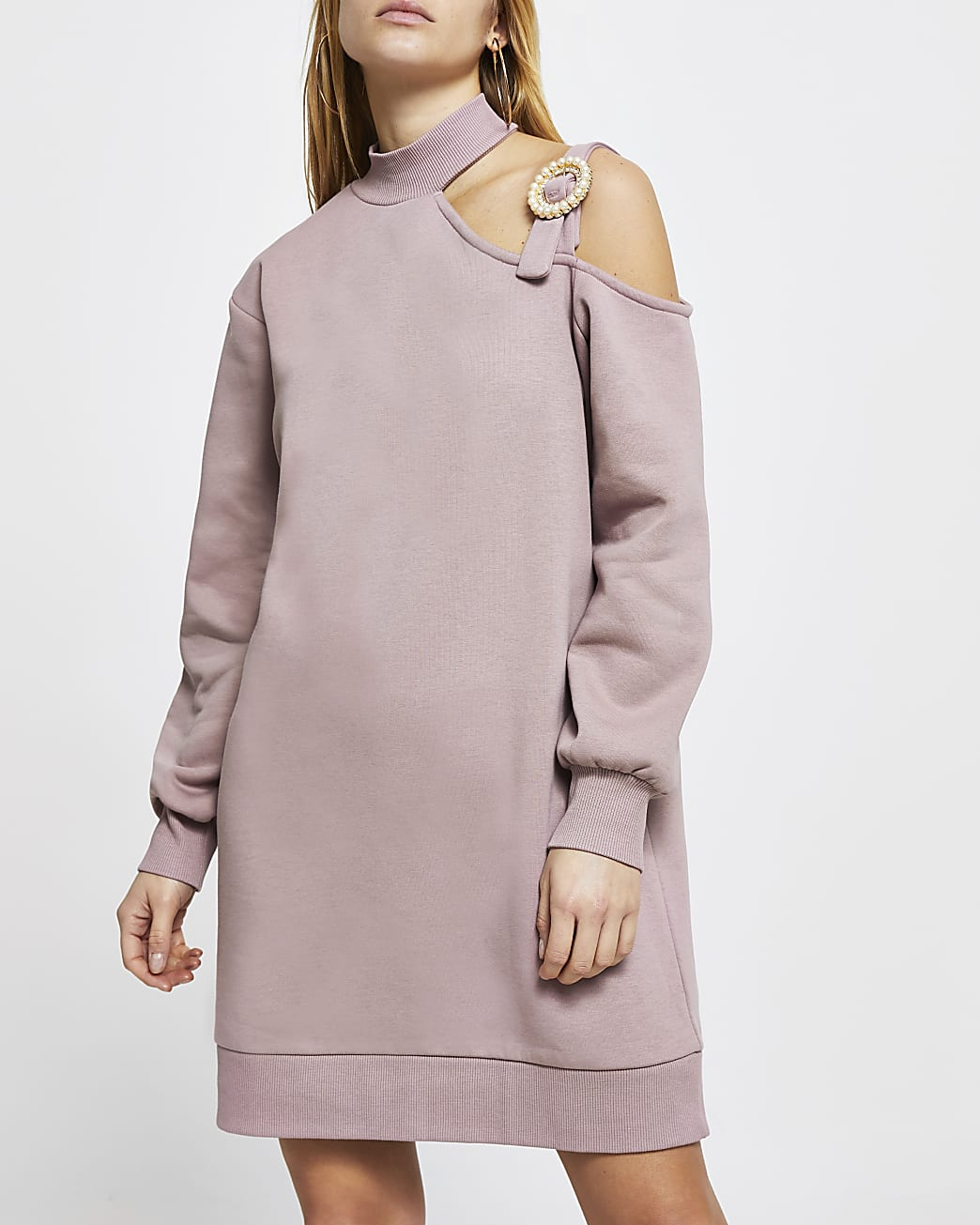 Pink cut out buckle sweater mini dress
