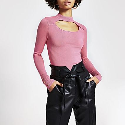 Pink cut out choker knitted jumper
