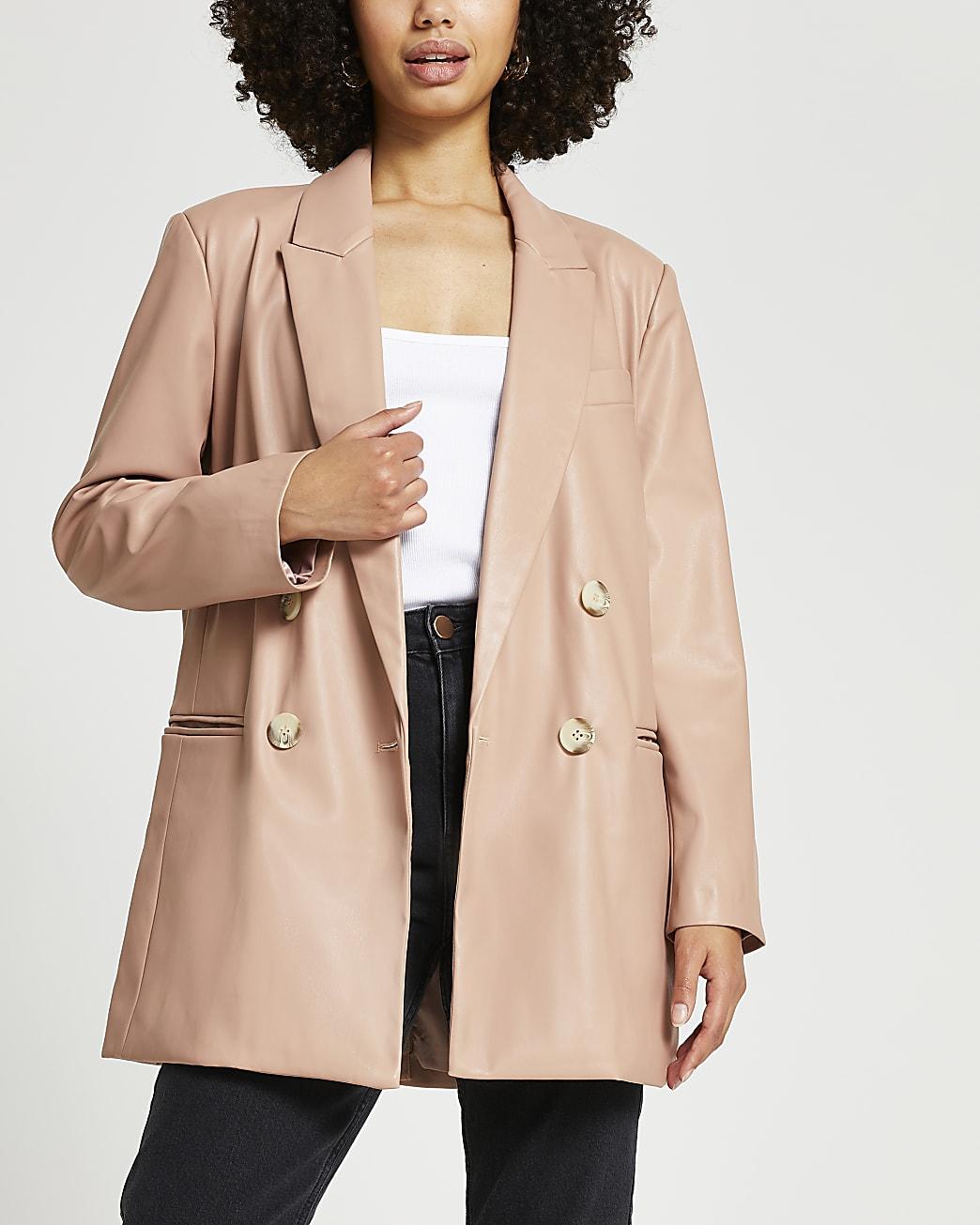 Pink dad faux leather blazer