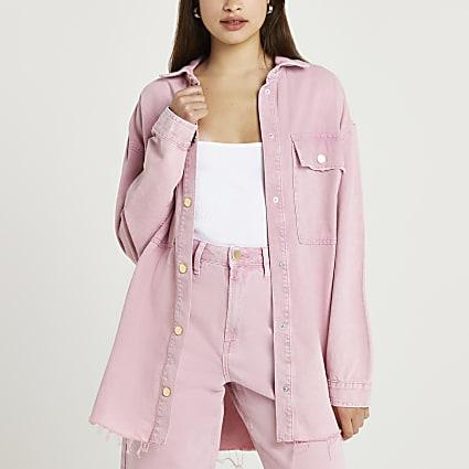 Pink denim long sleeve shirt