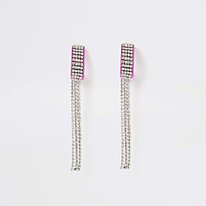 Pink diamante chain long tassel earrings