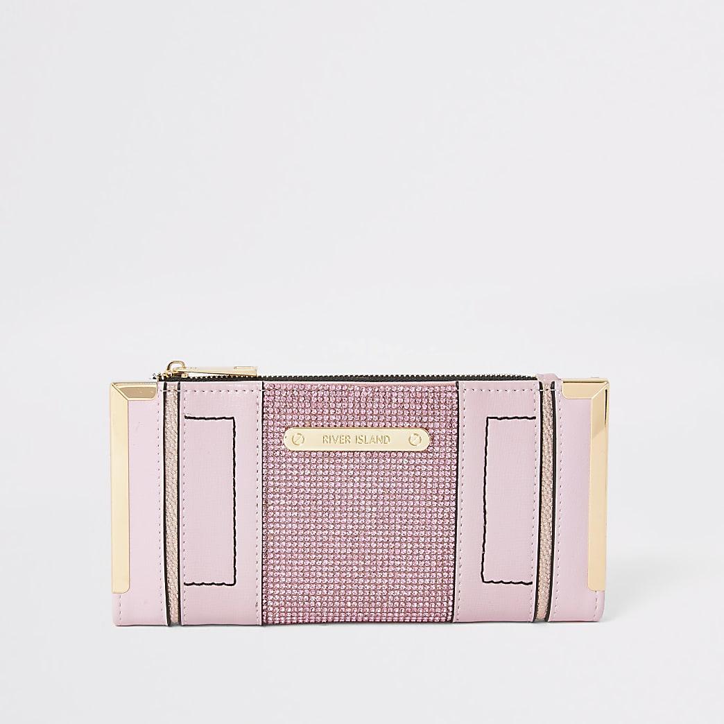 Pink diamante embellished metal corner purse