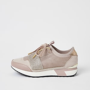 Pink diamante embellished runner trainers