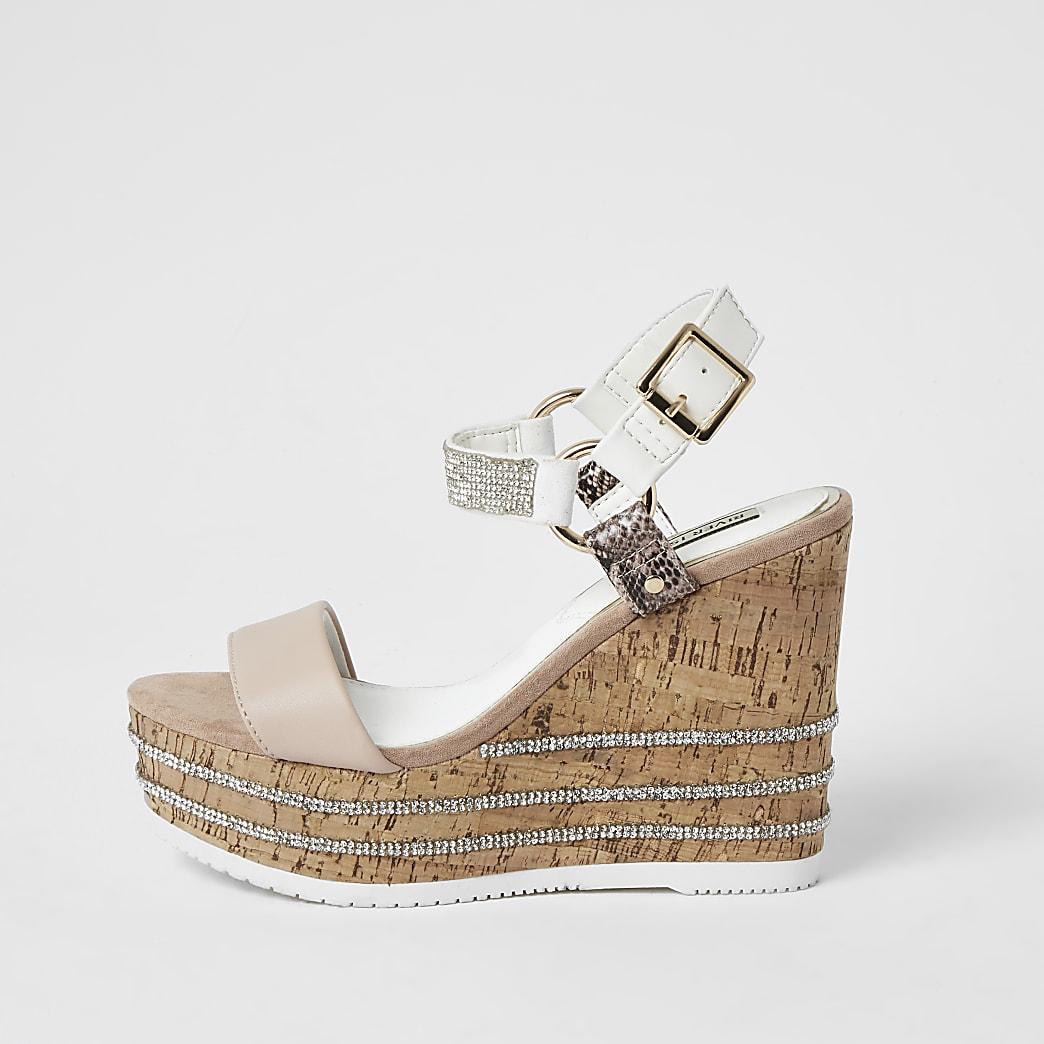 Roze sandalen met sleehak, siersteentjes en open voorkant