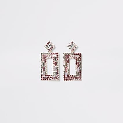 Pink diamante rectangle drop earrings