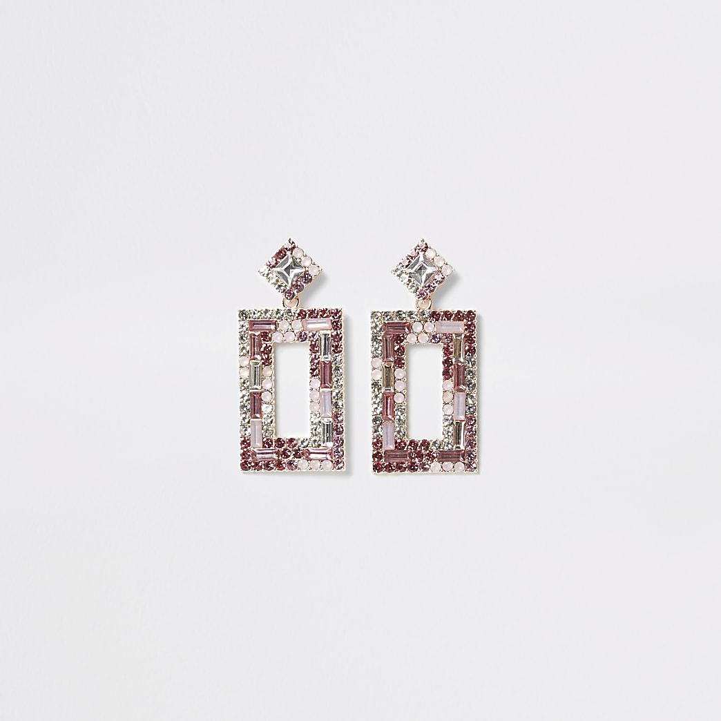 Boucles d'oreilles roses à pendentifs rectangulairesà strass