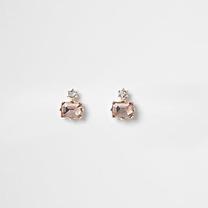Pink diamond shape stud earrings