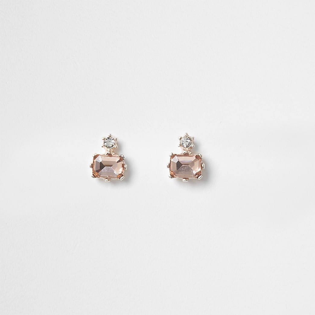 Pink diamond shape stud earrings