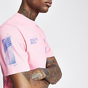 Roze T-shirt met 'Dimension'-print en korte mouwen