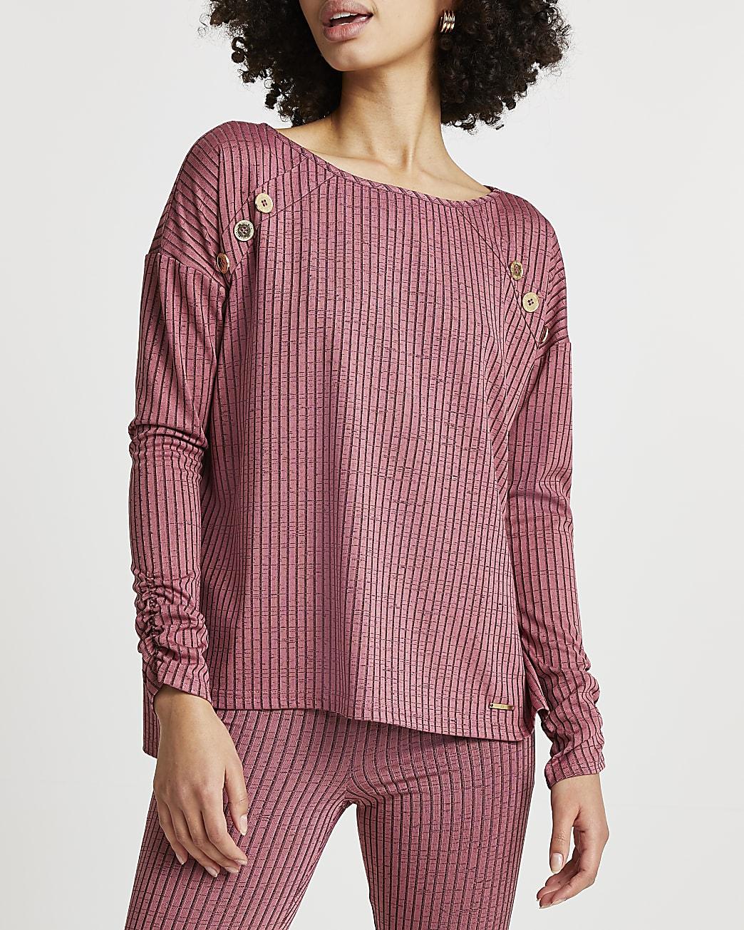 Pink dipped hem lounge long sleeve top