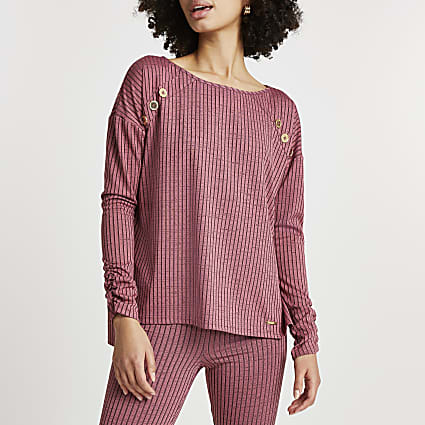 Pink dipped hem lounge long sleeve top