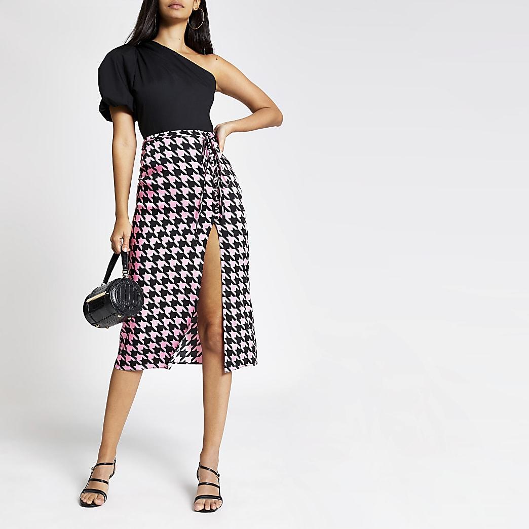 Pink dogtooth check midi skirt