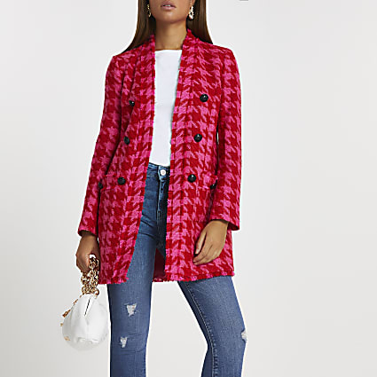 Pink dogtooth double breasted blazer