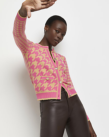 Pink dogtooth print knitted cardigan