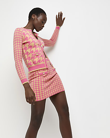 Pink dogtooth print knitted skirt