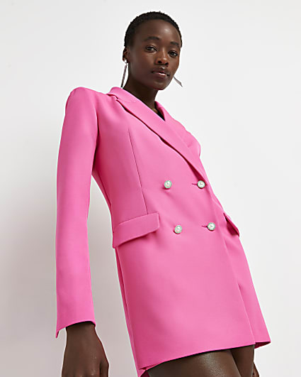 Pink double breasted blazer playsuit