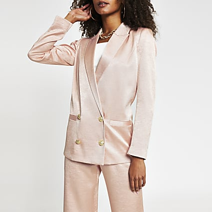 Pink double breasted gold button blazer