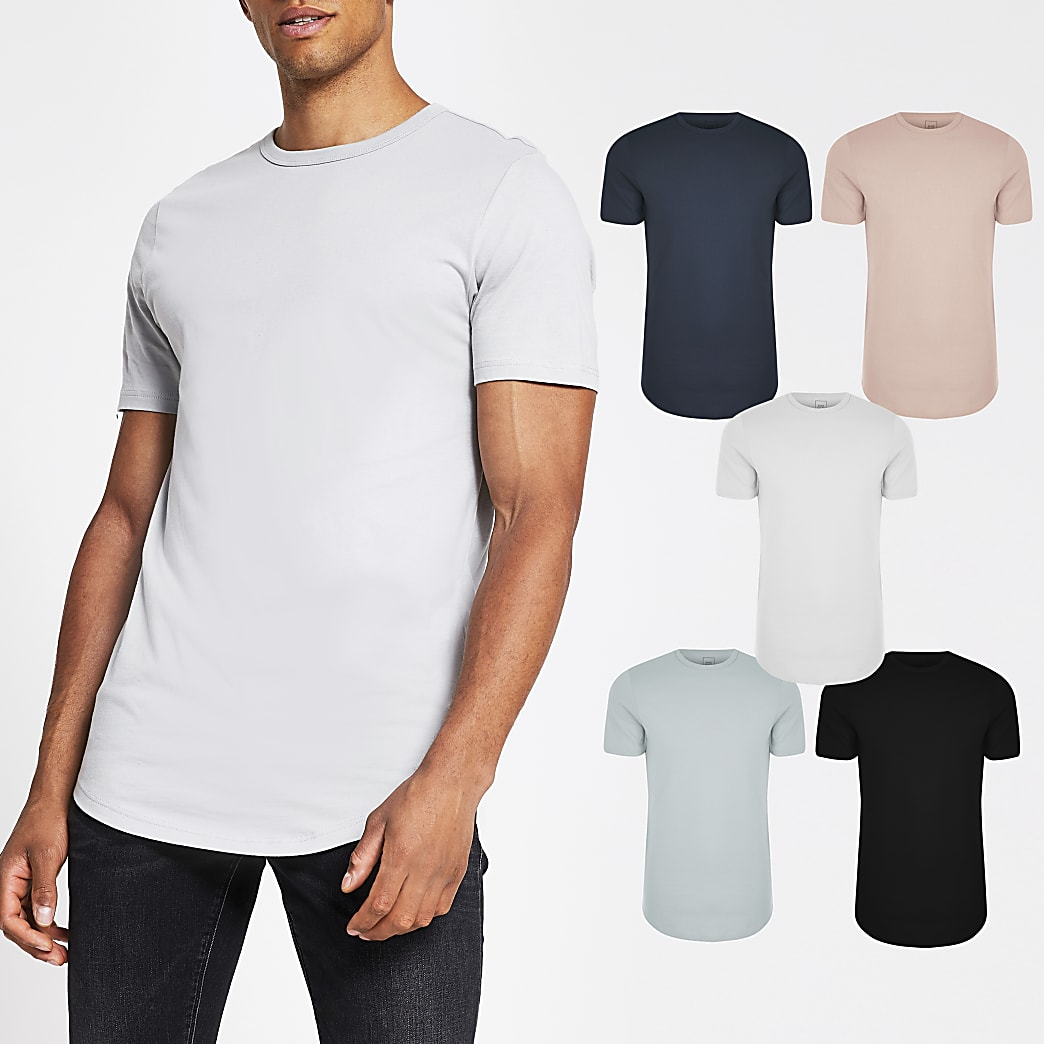Pink double curve hem t-shirt 5 pack