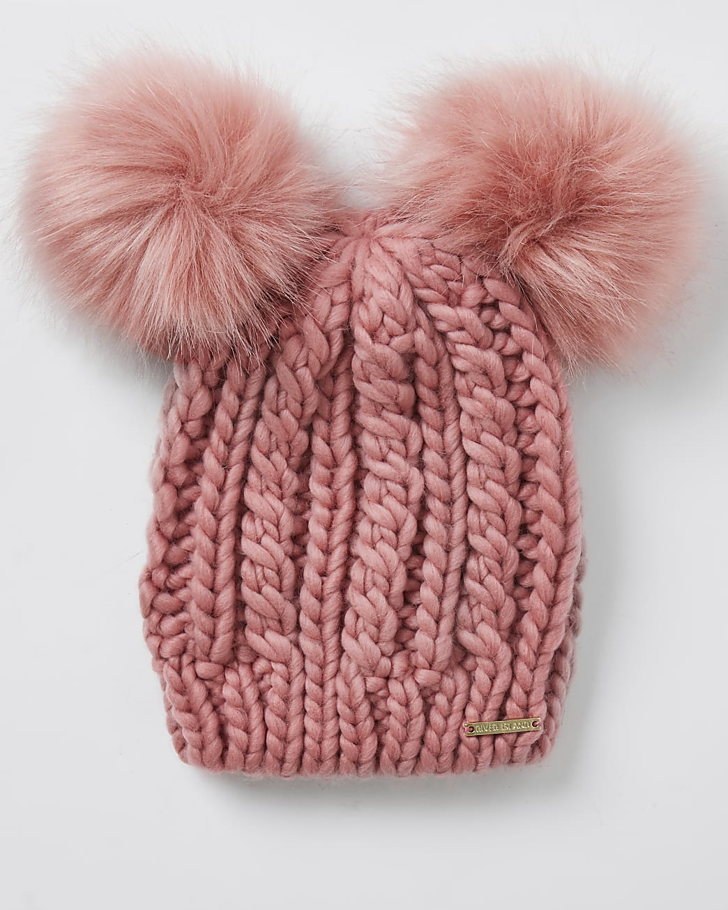 Pink double pom pom beanie hat