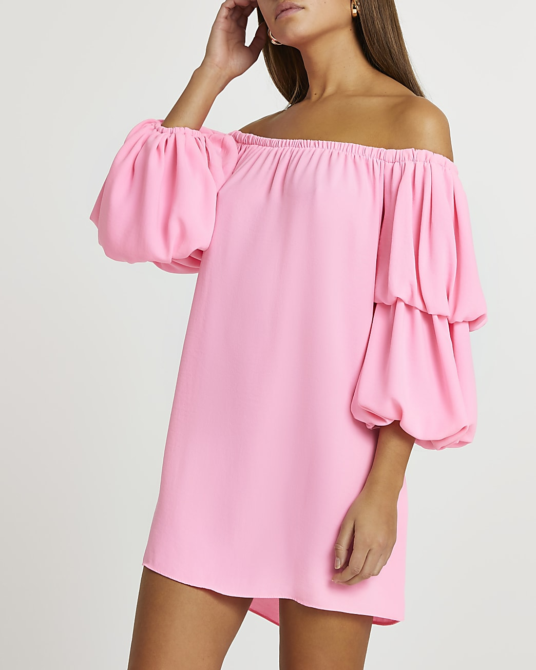 Pink double puff sleeve bardot mini dress