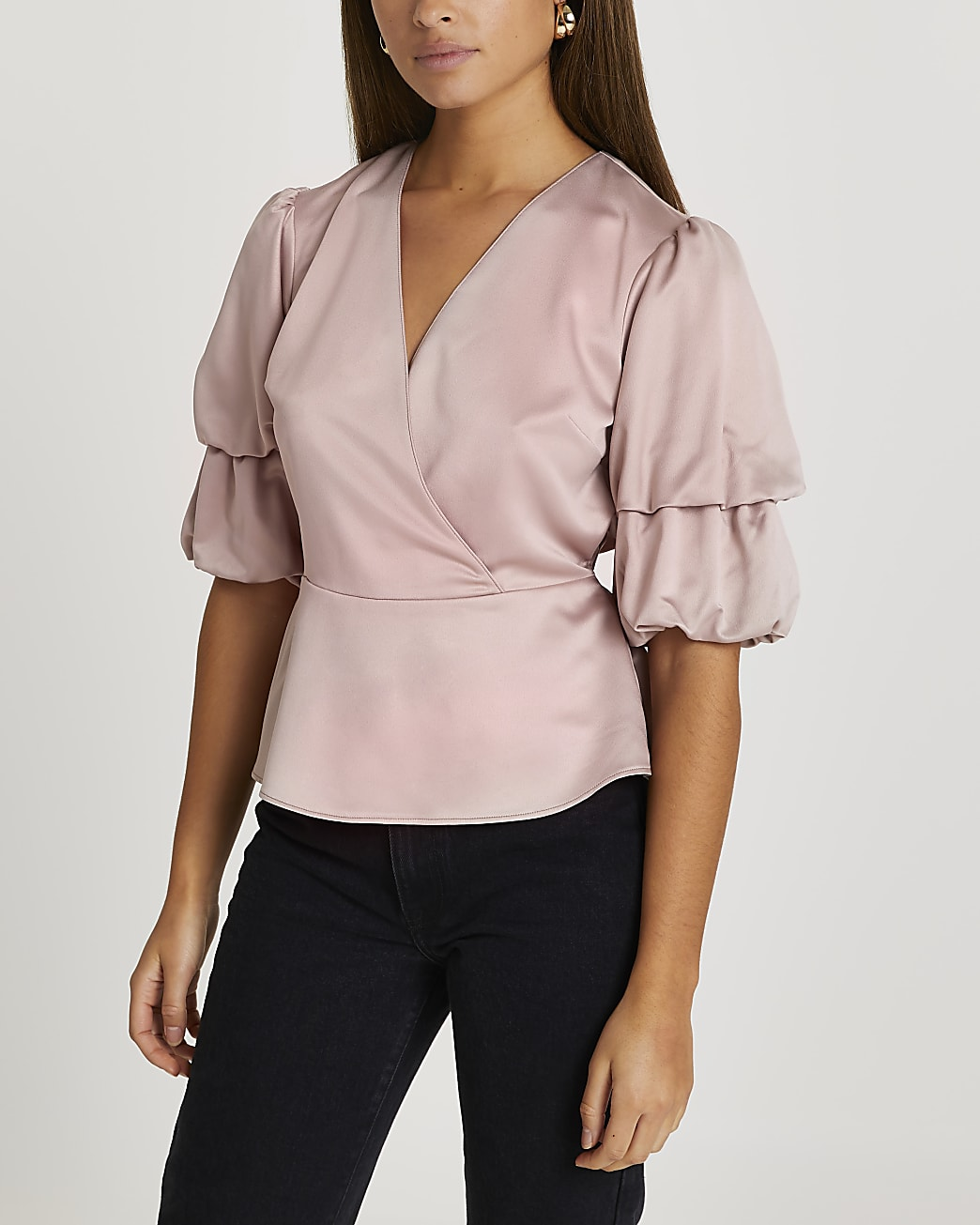 Pink double puff sleeve blouse top
