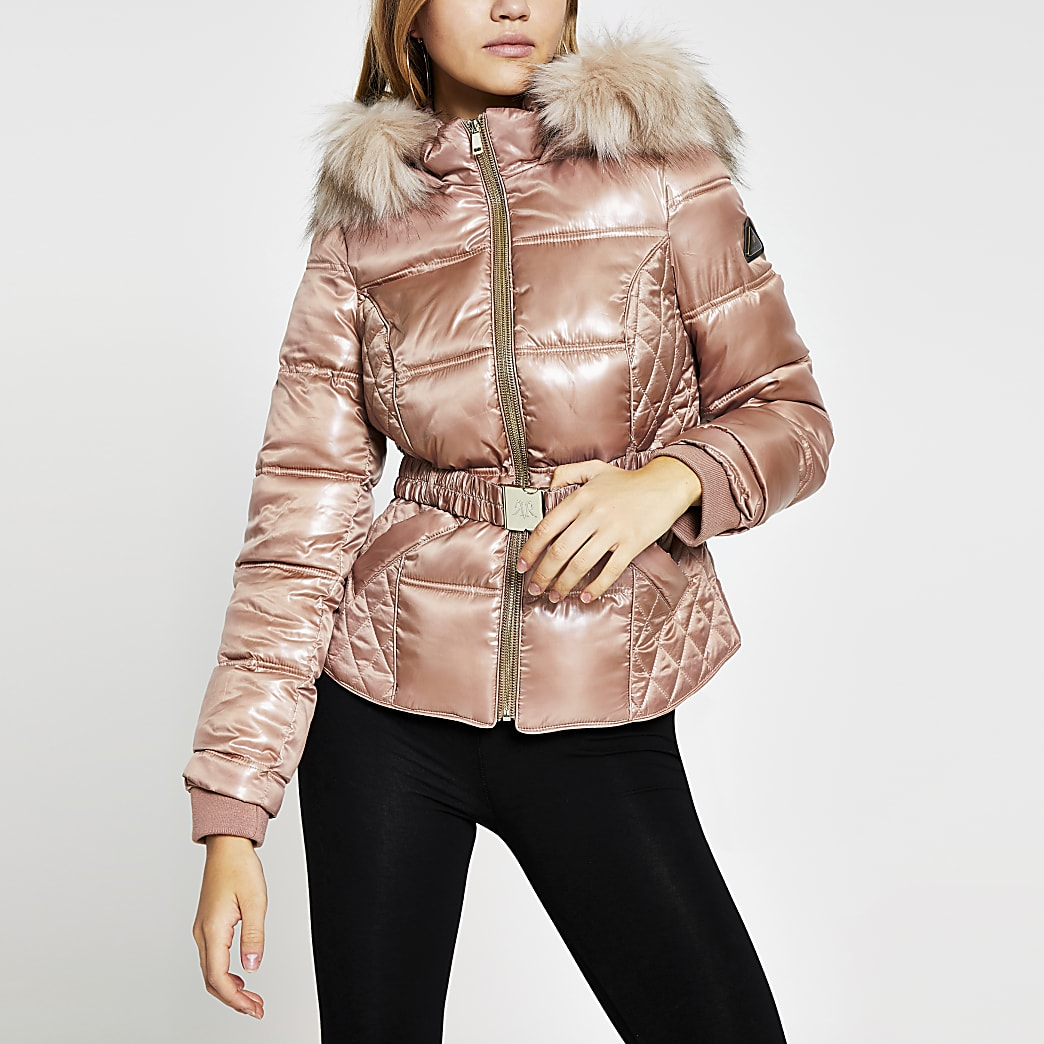Pink double zip belted padded coat