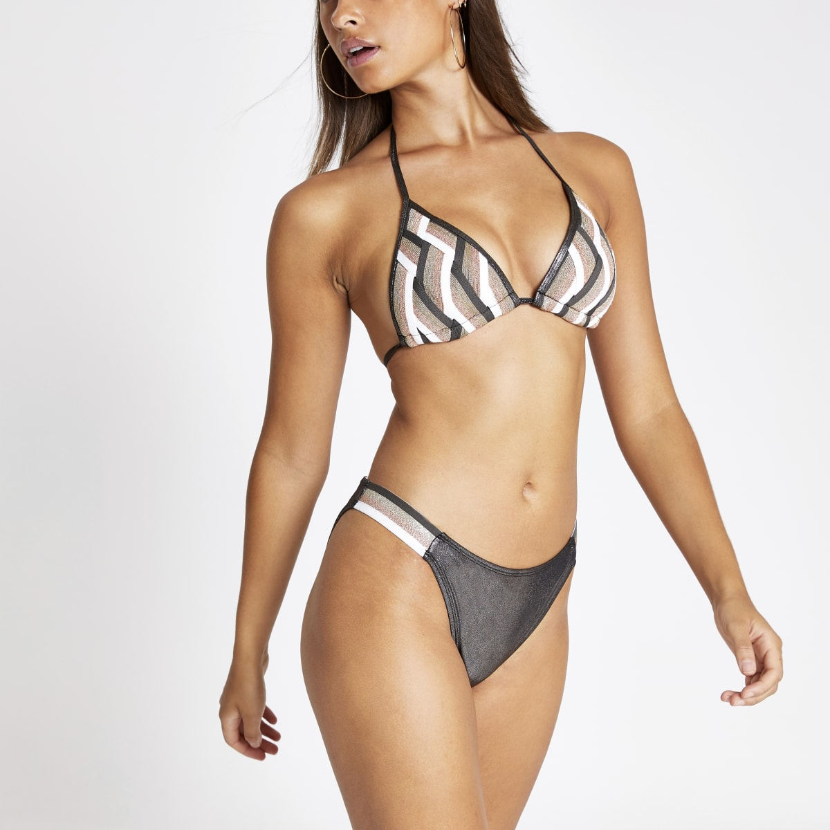 Bas de bikini élastique rose imprimé zigzags