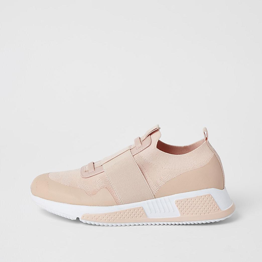 Rozeelastische gebreide sneakers