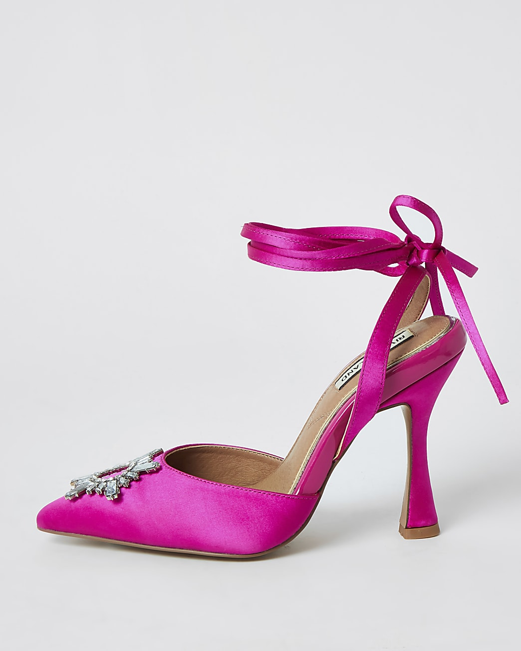 Pink embellished ankle tie court shoes