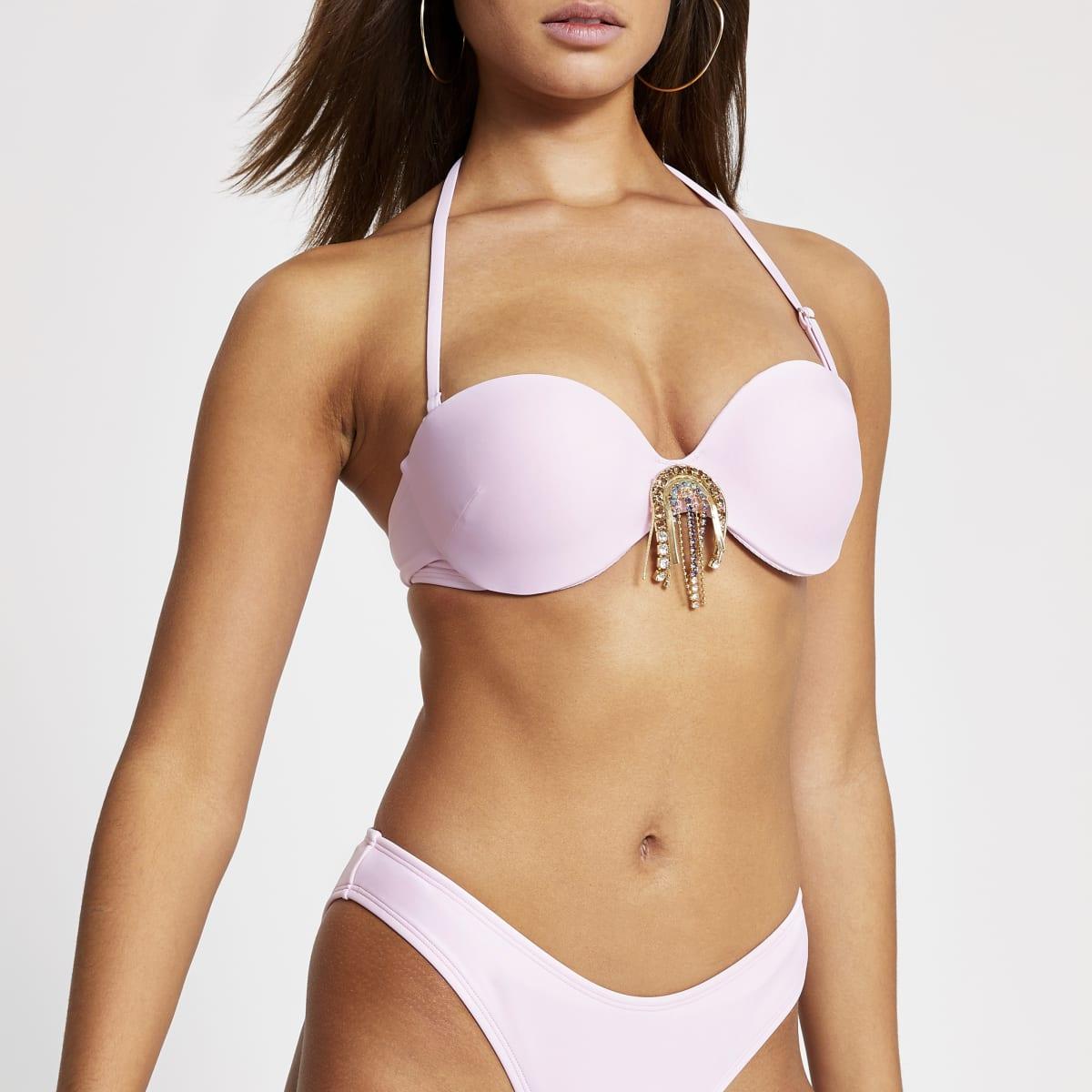 Pink embellished balconette bikini top