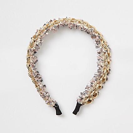Pink embellished chain headband