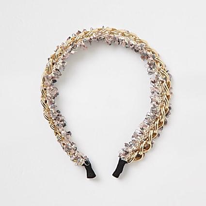 Pink embellished chain headband