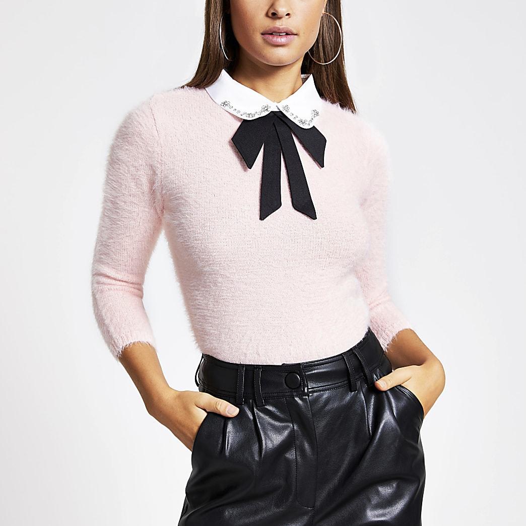 Pink embellished collar fluffy knit jumper