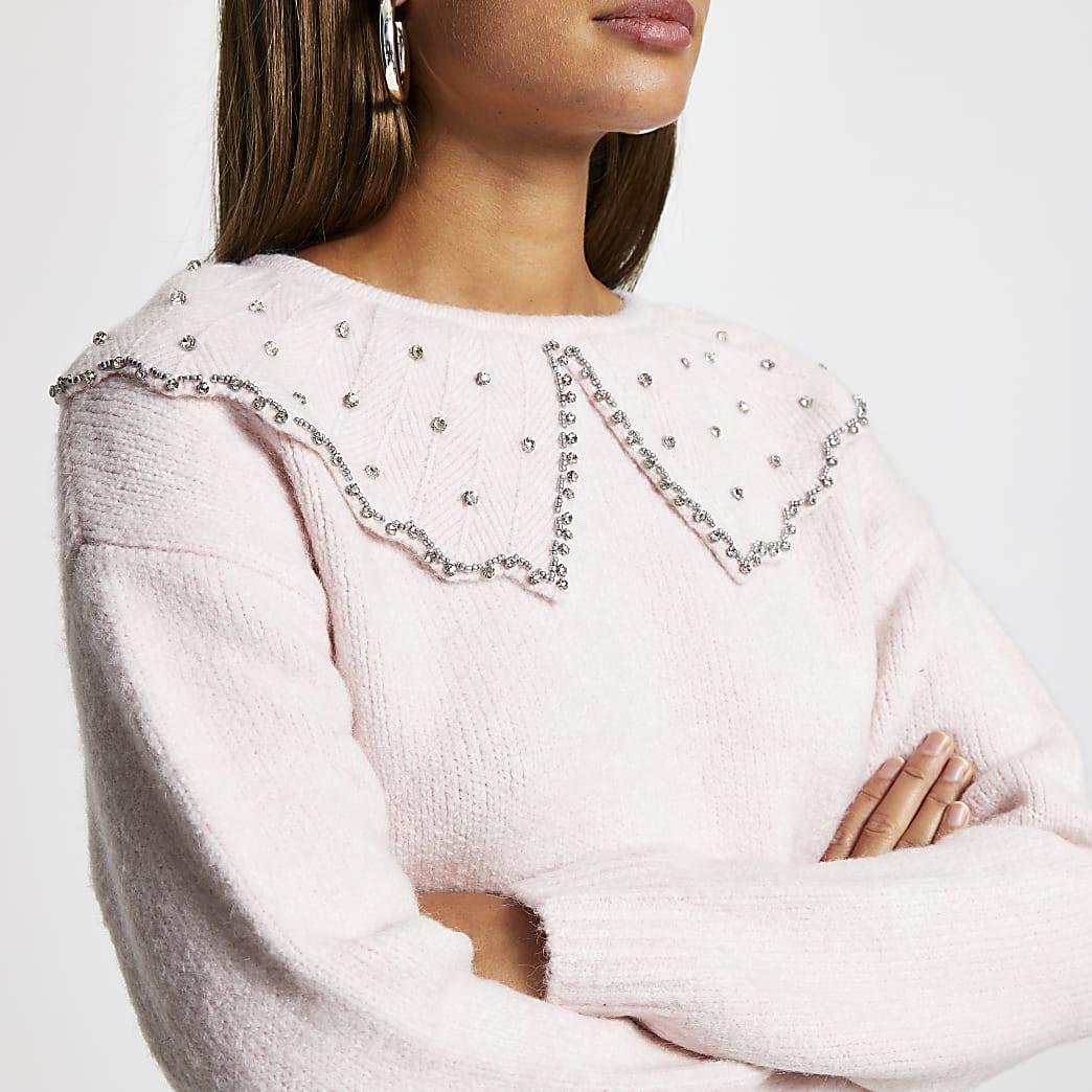 Pink embellished collar neck jumper