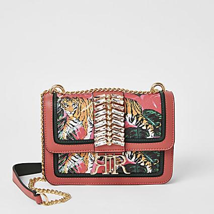 Pink embellished cross body satchel bag