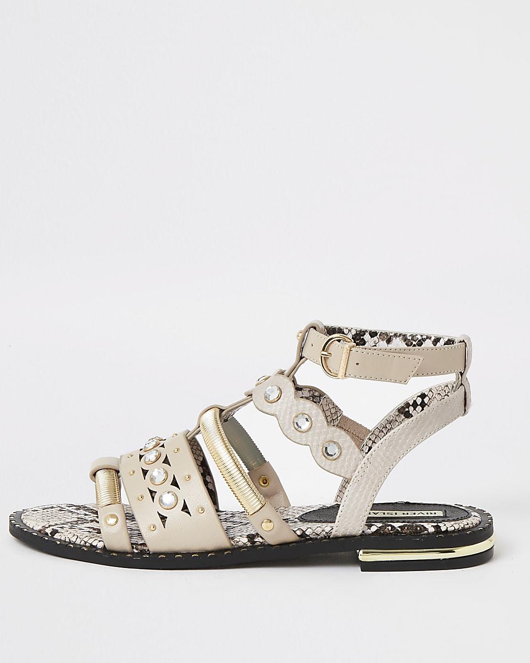 Pink embellished gladiator sandals