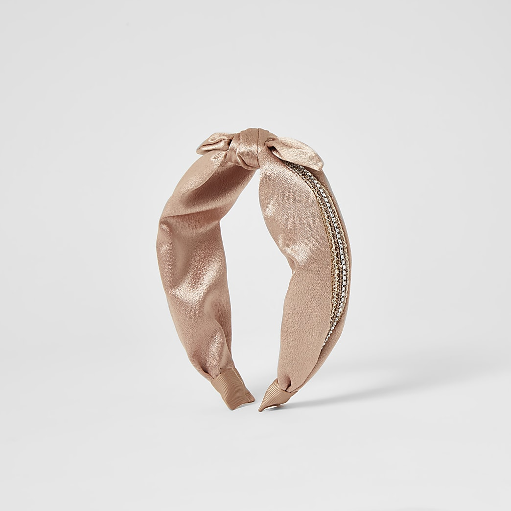 Pink embellished knot top headband