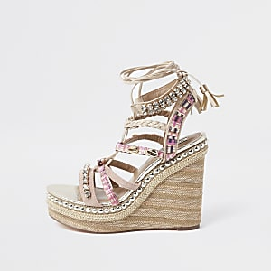 Pink embellished lace-up wedge sandals