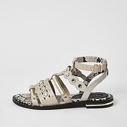 Pink embellished wide fit gladiator sandals
