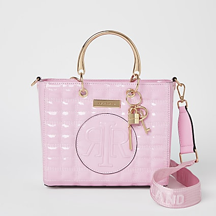Pink embossed tote bag