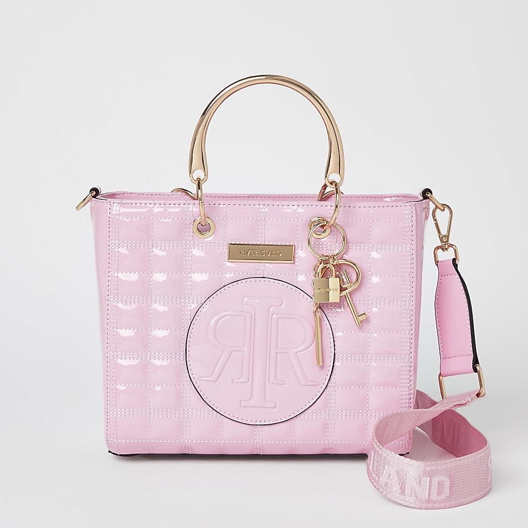 Pink embossed tote bag