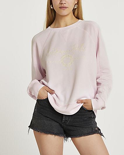Pink embroidered burnout sweatshirt