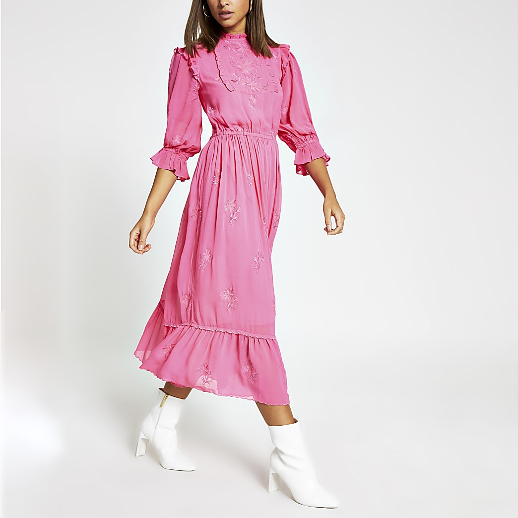 Pink embroidered long sleeve midi dress